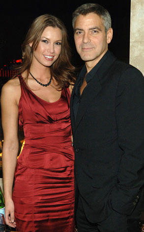 Sarah Larson in red with George Clooney